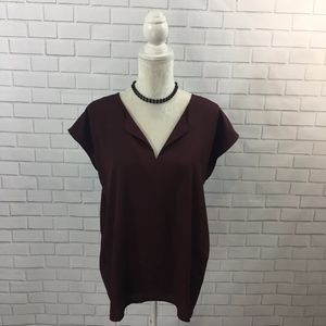 New York & Company Boxy Plum V-neck Hi-low Blouse